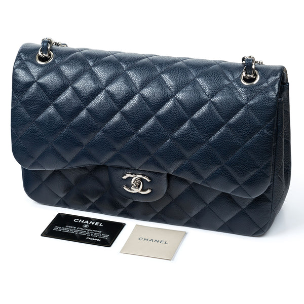 Jumbo Navy Classic Flap Bag