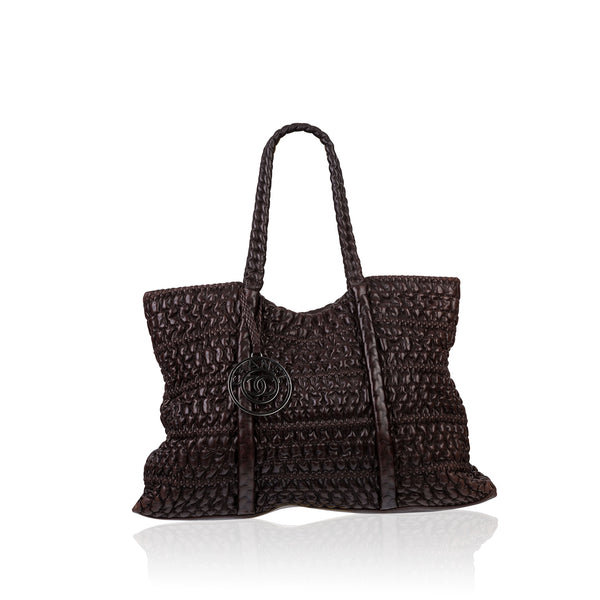 Interwoven leather tote