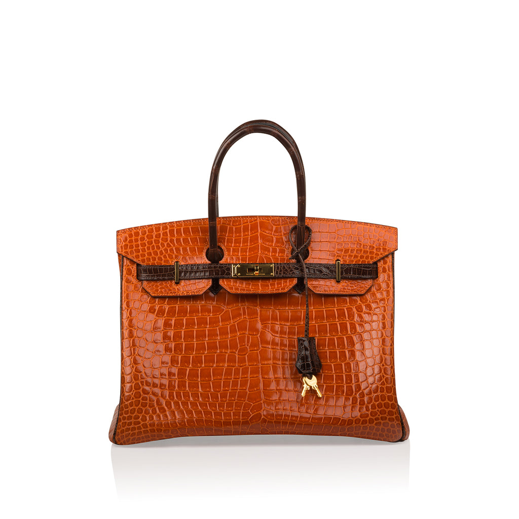 Birkin 35 - Orange/Brown - Shiny Porous Crocodile