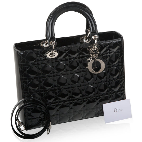 Lady Dior Black Patent Leather Large