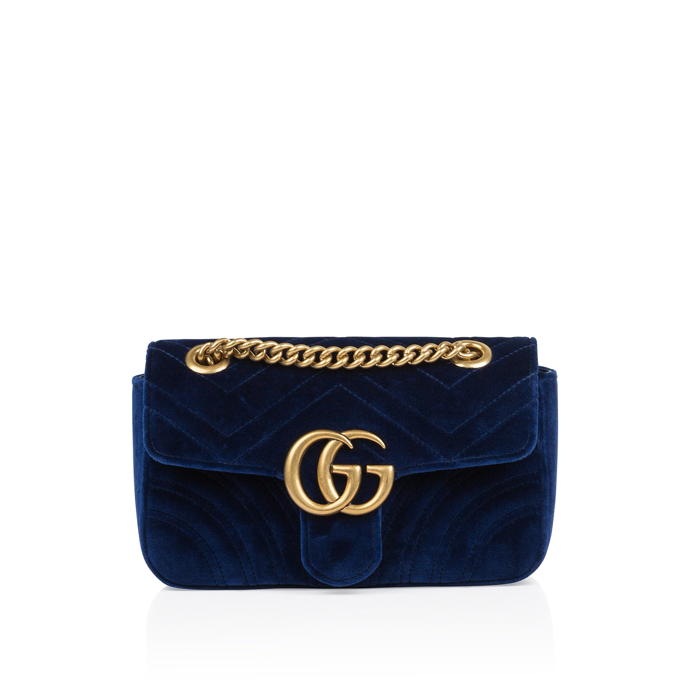 2323d37a0695 Gucci - Velvet Marmont - Navy Blue - Pre-Loved | Bagista