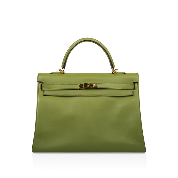 Kelly 35 - Vert Anis Swift leather