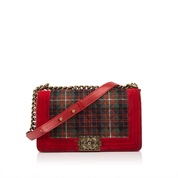 Tartan/Velvet Medium Boy Bag