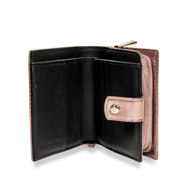 Cannage Metallic Wallet Pink