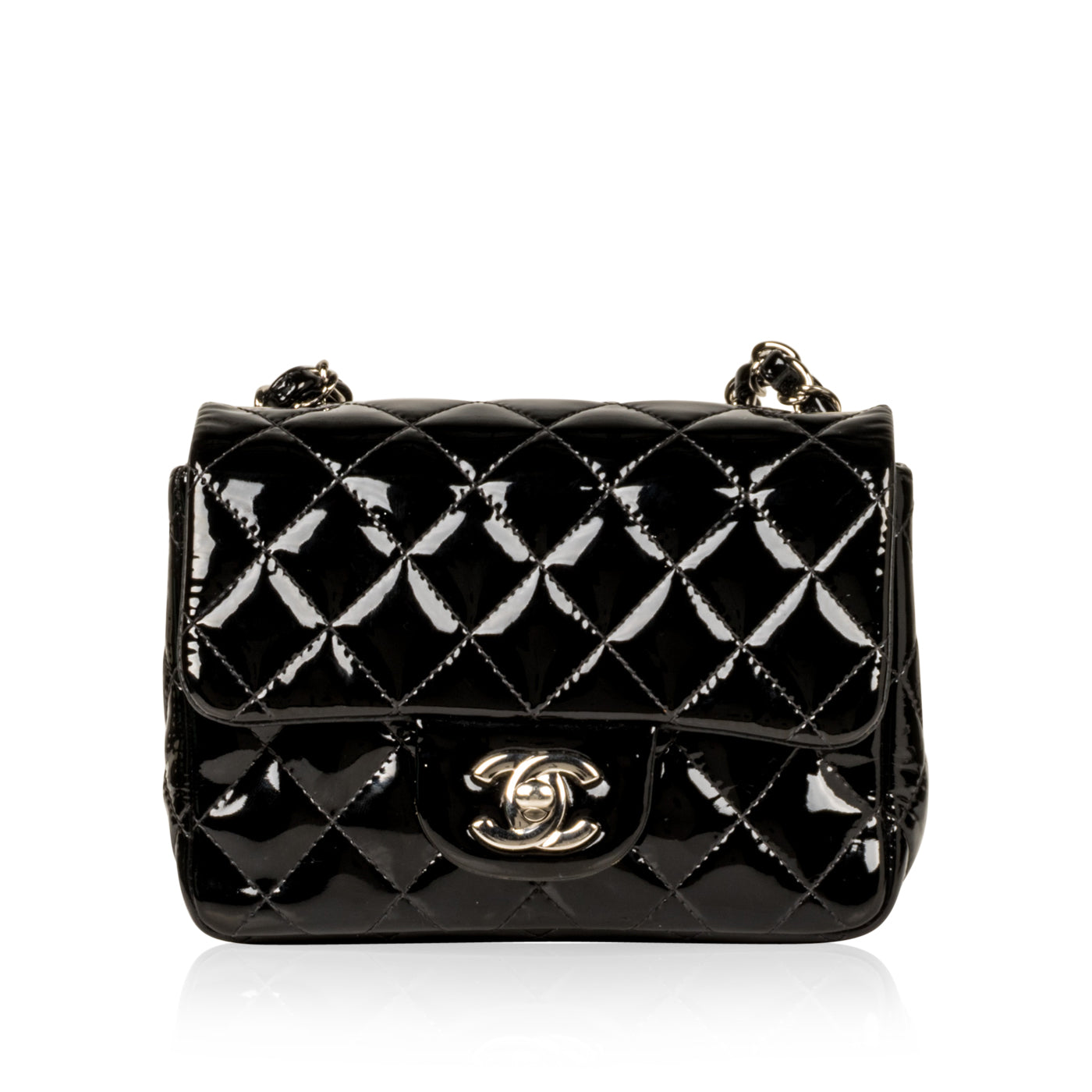 0110eafae8150b Chanel - Mini Square Classic Flap Bag - Black Patent - SHW | Bagista