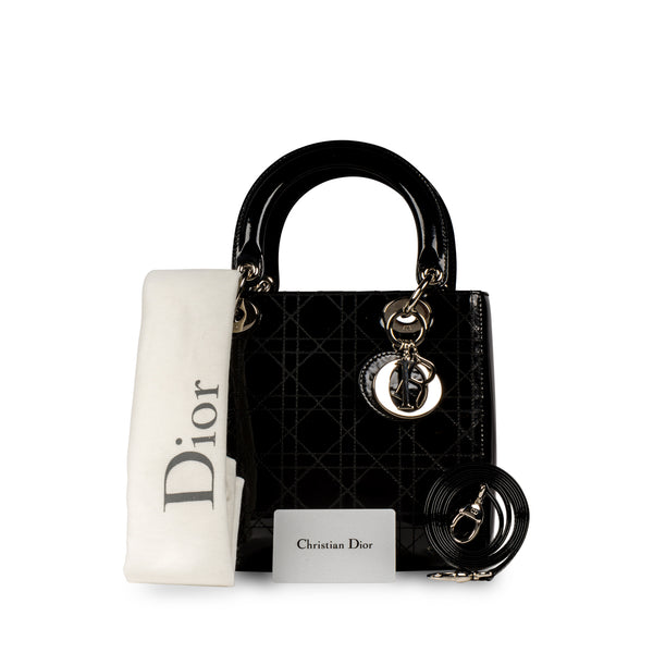 Lady Dior Black Patent Leather Medium