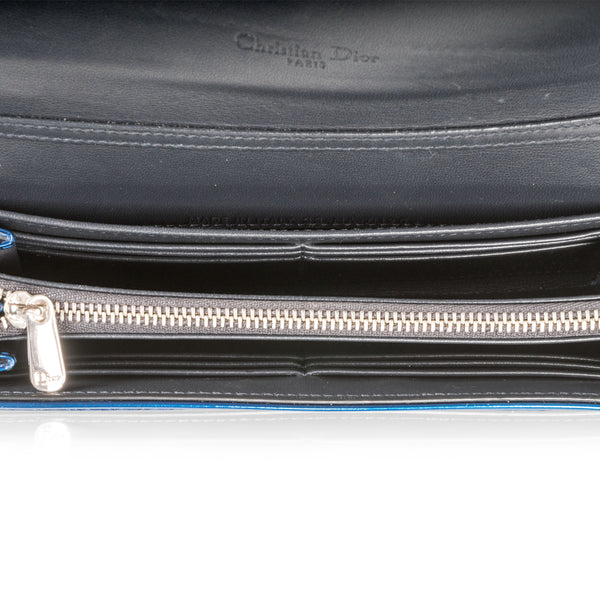 Cannage Metallic Wallet Blue