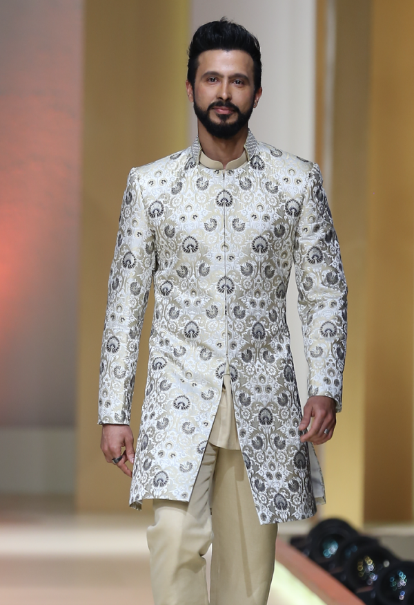 White Brocade Short Sherwani