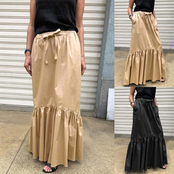 Celmia Women's Vintage Maxi Skirts 2021 Fashion High Waist Ruffles Party Long Skirts Casual Loose Belted Work Skirt Plus Size 7