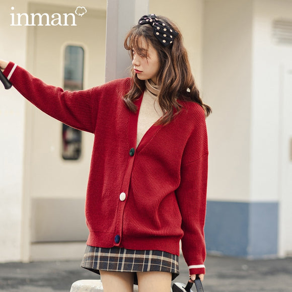 INMAN Winter Retro Collegiate V-neck Pure Color Knitted Cardigan Loose Women's Sweater