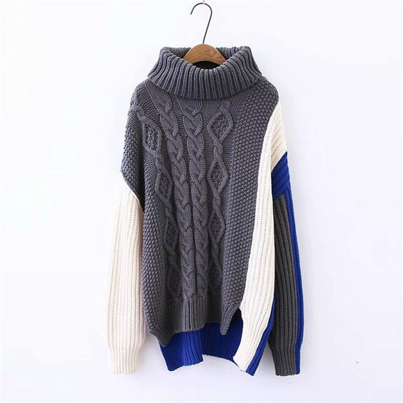 SONDR 2020 European And American Autumn And Winter New Women's Multi-color Stitching Loose Irregular Sweater