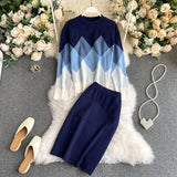 Women's Knitted Sets 2021 New Spring O-neck Geometric Palid Loose Pullover Sweater Tops And Long Pencil Skirt Two Piece Set