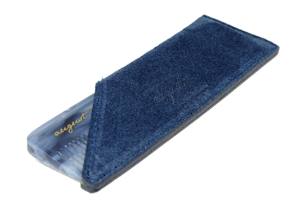 August Grooming suede case in navy with lake pocket comb