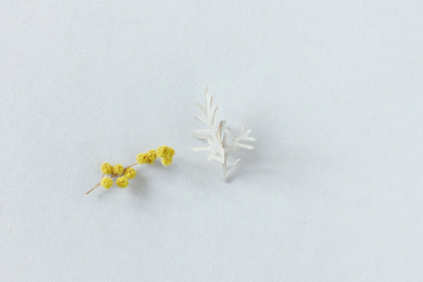A sterling silver brooch from Plants collection by Makiami, handcrafted in our workshop in Stockholm, Sweden.