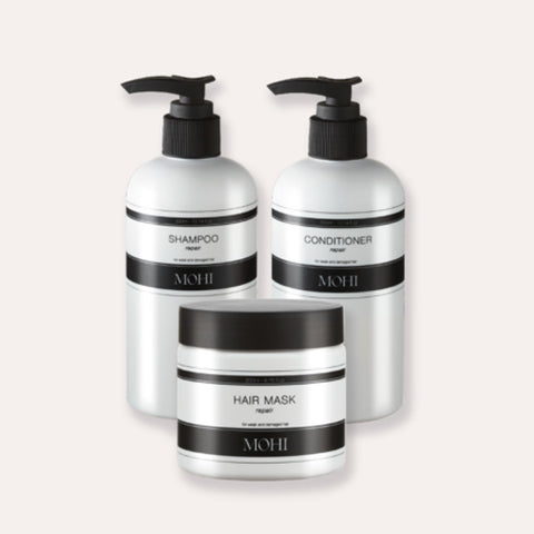 MOHI Hair repair package (Shampoo 300ml, Hair Mask 200ml & Conditioner 300ml)