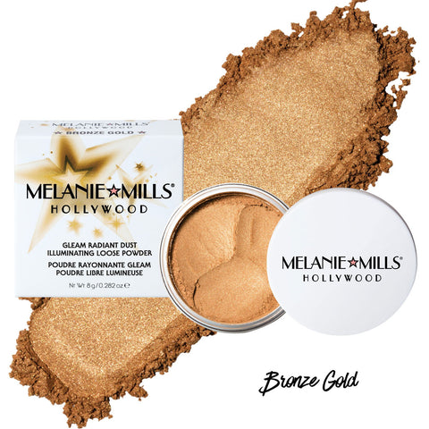 Melanie Mills Hollywood-BRONZE GOLD Gleam Radiant Dust Shimmering Loose Powder