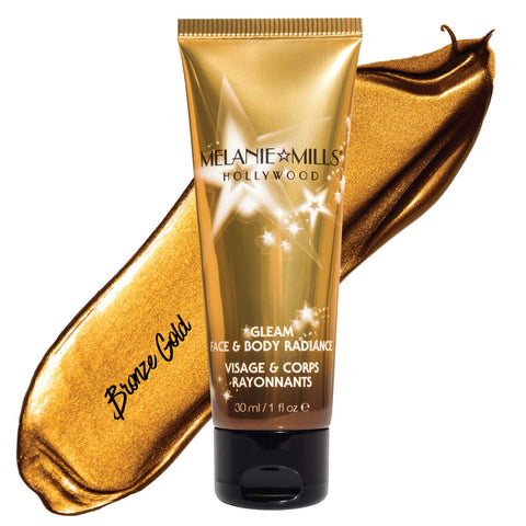 Melanie Mills Hollywood Bronze Gold Gleam Face & Body Radiance All In One Makeup, Moisturiser and Glow 30ml