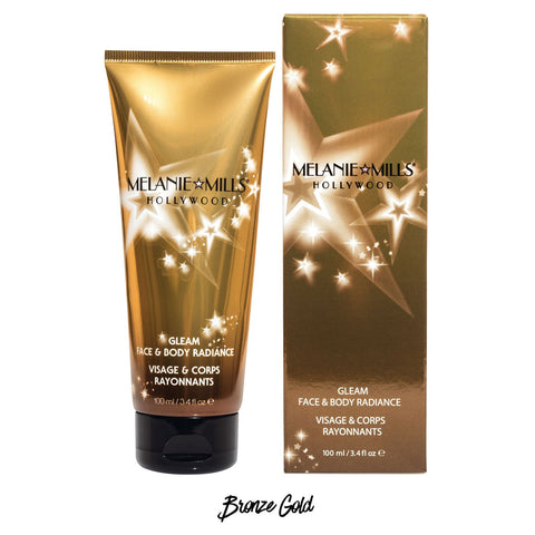 Melanie Mills Hollywood Bronze Gold Gleam Face & Body Radiance All In One Makeup, Moisturiser and Glow 100ml