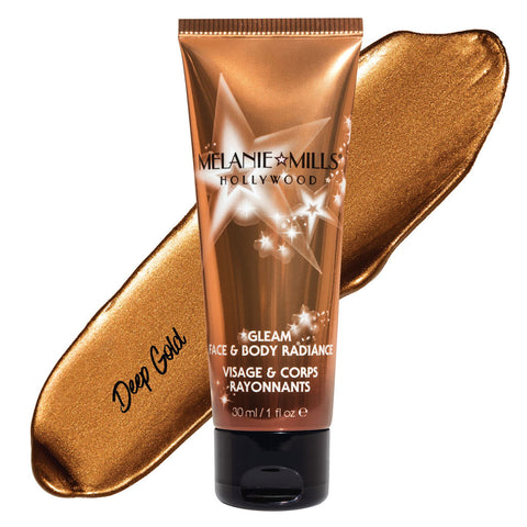 Melanie Mills Hollywood Deep Gold Gleam Face & Body Radiance All In One Makeup, Moisturiser and Glow 30ml
