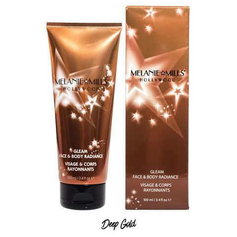 Melanie Mills Hollywood Deep Gold Gleam Face & Body Radiance All In One Makeup, Moisturiser and Glow 100ml