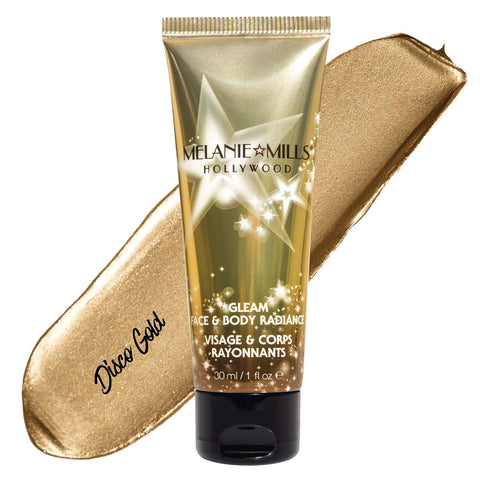 Melanie Mills Hollywood Disco Gold Gleam Face & Body Radiance All In One Makeup, Moisturiser and Glow 30ml