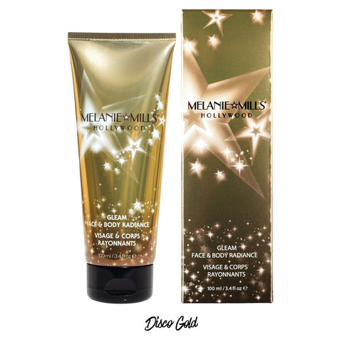 Melanie Mills Hollywood Disco Gold Gleam Face & Body Radiance All In One Makeup, Moisturiser and Glow 100ml