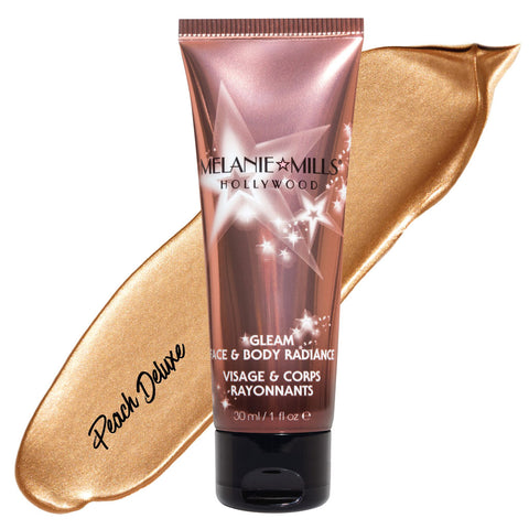 Melanie Mills Hollywood Peach Deluxe Gleam Face & Body Radiance All In One Makeup, Moisturiser and Glow 30ml