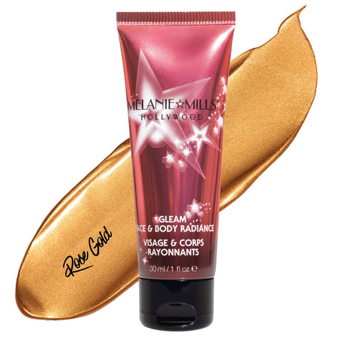 Melanie Mills Hollywood Rose Gold  Gleam Face & Body Radiance All In One Makeup, Moisturiser and Glow 30ml