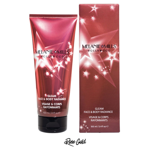 Melanie Mills Hollywood Rose Gold  Gleam Face & Body Radiance All In One Makeup, Moisturiser and Glow 100ml