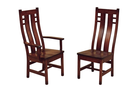 Solid Hardwood Dining Room Cascade Chair - HomePlex Furniture Featuring USA Made Quality Furniture