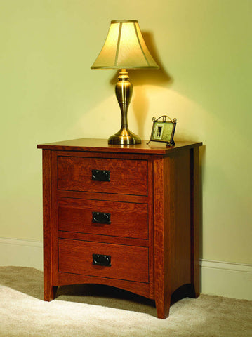 Misson Nightstand 3 Drawer Solid Hardwood Bedroom at HomePlex Furniture USA made Quality Furniture