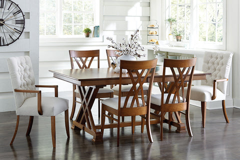 Solid Hardwood Heyerly Trestle Dining Room Table - HomePlex Furniture