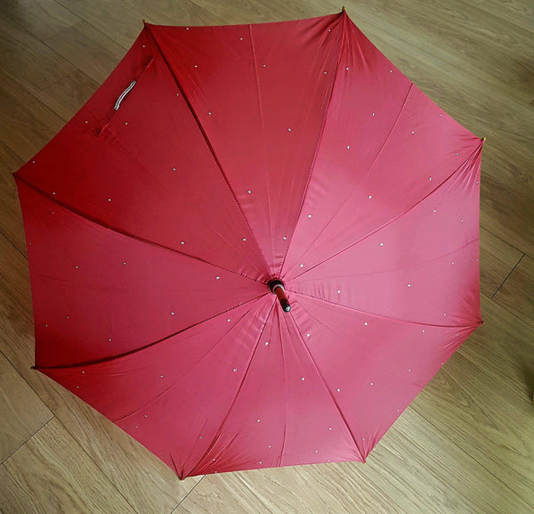 Red Sparkle Wooden Handle Umbrella