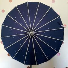Navy Ribbed Sparkle Pagoda Umbrella