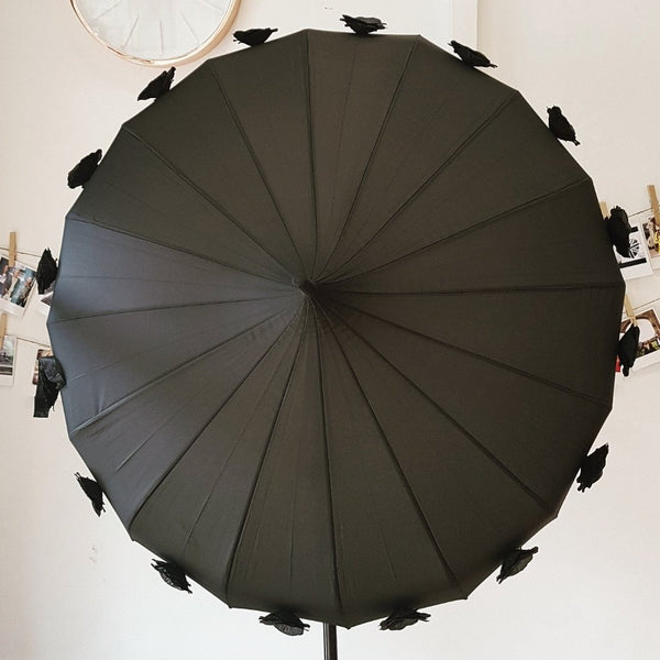 Black Flower Time Umbrella