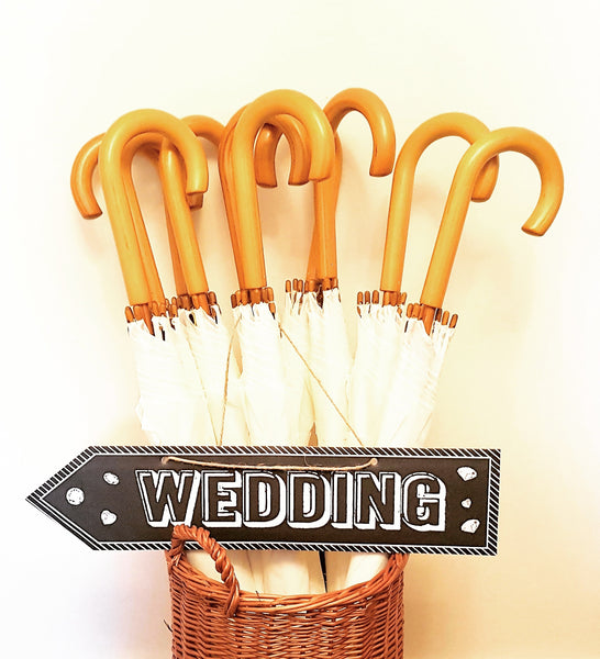 Wedding Umbrella Hire x10 Wooden Hooked Handle Umbrellas - 13 colours