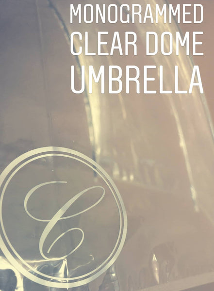 SALE - Monogrammed Clear Dome Umbrella - Silver Round C