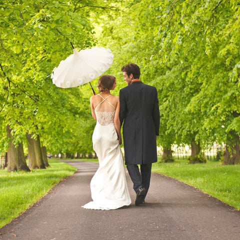 Ivory Flower Time Wedding Umbrella