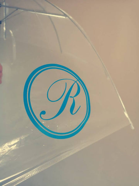 SALE - Monogrammed Clear Dome Umbrella - Blue Round R