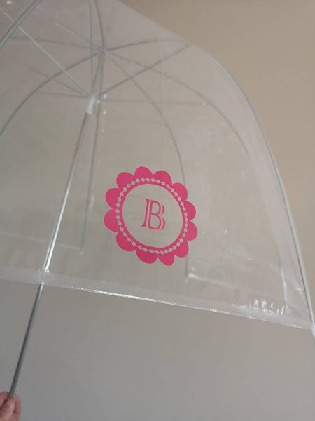 SALE - Monogrammed Clear Dome Umbrella - Pink Flower B