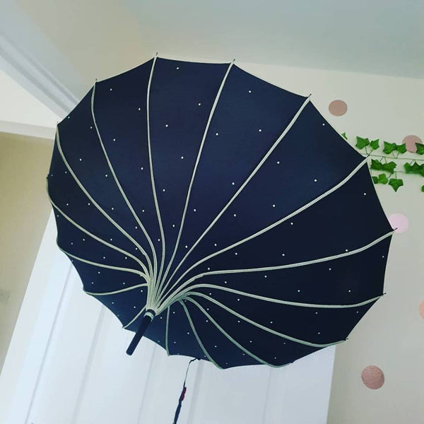 Black Ribbed Sparkle Pagoda Umbrella