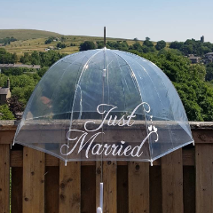 Just Married Clear Umbrella