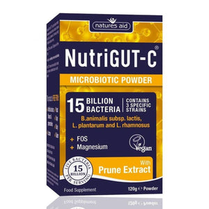 NutriGUT-C Probiotics 15 Billion Bacteria with FOS & Magnesium 120g