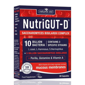 NutriGUT-D Probiotics 10 Billion Bacteria Saccharomyces Boulardii 30 Capsules
