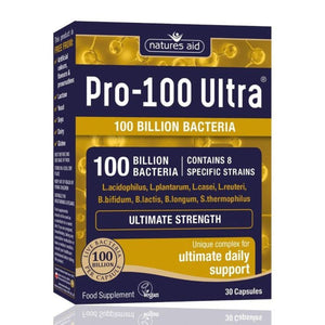 Pro 100 Ultra 100 Billion Bacteria 8 Strain Probiotics Complex 30 Capsules