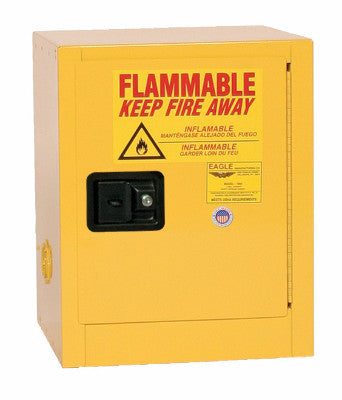 Eagle 4 Gallon Flammable Liquid Safety Storage Cabinet-Yellow, One Shelf