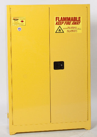 Eagle 45 Gallon Flammable Liquid Safety Storage- Yellow, Two door, Two Shelf