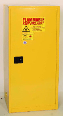 Eagle 60 Gallon Flammable Liquid Safety Storage- Yellow, One door, Two shelves
