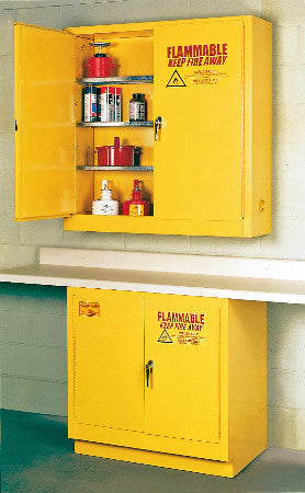 Eagle 24 Gallon Flammable Liquid Safety Storage- Yellow, Two door, Three shelves, Wall Mount