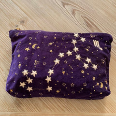 My market day grab bag, currently a navy velvet number with my star sign (Scorpio) embroidered on the front along with lots of other gold stars.